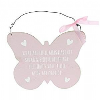 Little Girls Sugar & Spice ~ Pink Butterfly Wall Plaque
